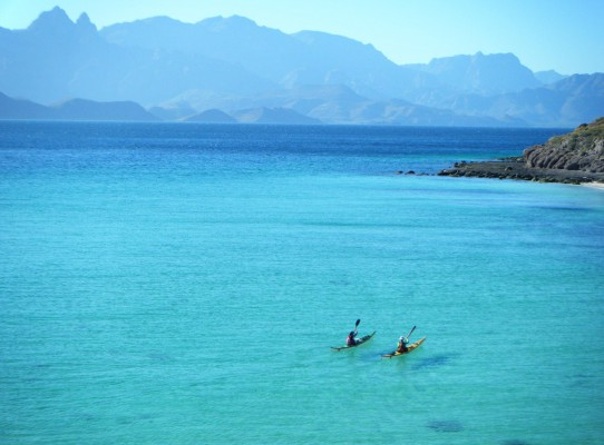 Two paddlers in powder blue water